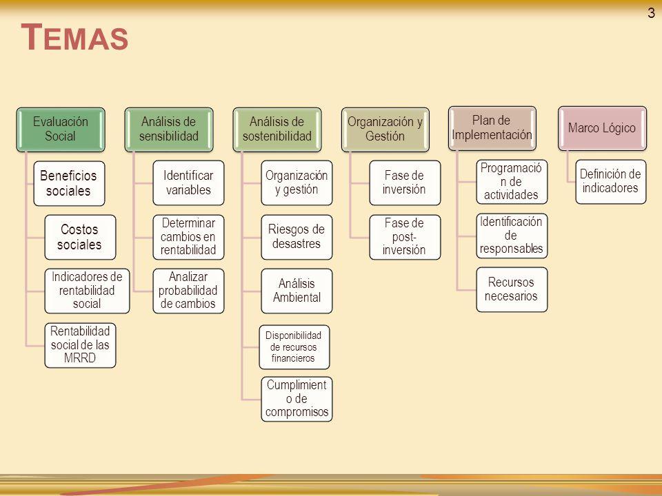 Evaluación Social Beneficios sociales Costos sociales Indicadores de rentabilidad social Rentabilidad social de las MRRD Análisis de sensibilidad Identificar variables Determinar cambios en rentabilidad Analizar probabilidad de cambios Análisis de sostenibilidad Organización y gestión Riesgos de desastres Análisis Ambiental Disponibilidad de recursos financieros Cumplimient o de compromisos Organización y Gestión Fase de inversión Fase de post- inversión Plan de Implementación Programació n de actividades Identificación de responsables Recursos necesarios Marco Lógico Definición de indicadores T EMAS 3