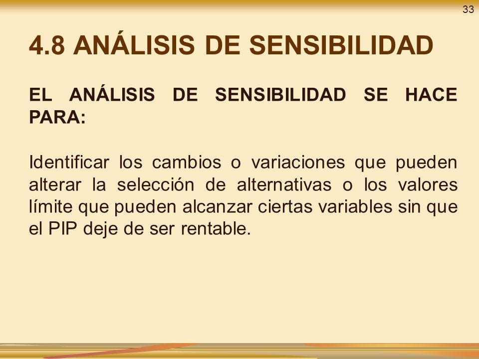4.8 ANÁLISIS DE SENSIBILIDAD EL ANÁLISIS DE SENSIBILIDAD SE HACE PARA: Identificar los cambios o variaciones que pueden alterar la selección de altern