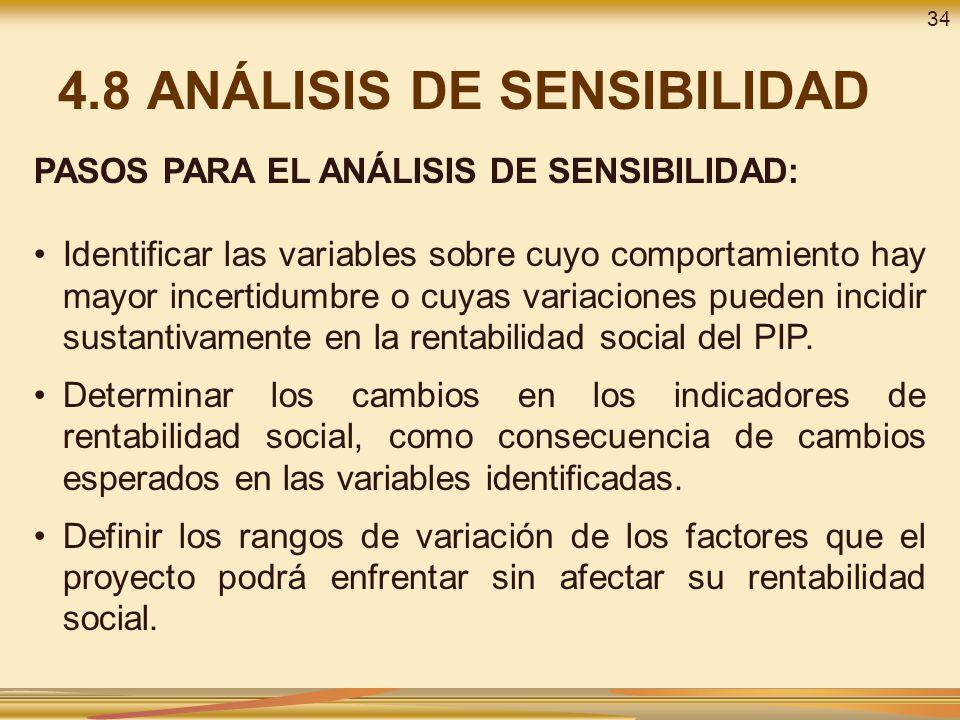 4.8 ANÁLISIS DE SENSIBILIDAD PASOS PARA EL ANÁLISIS DE SENSIBILIDAD: Identificar las variables sobre cuyo comportamiento hay mayor incertidumbre o cuy