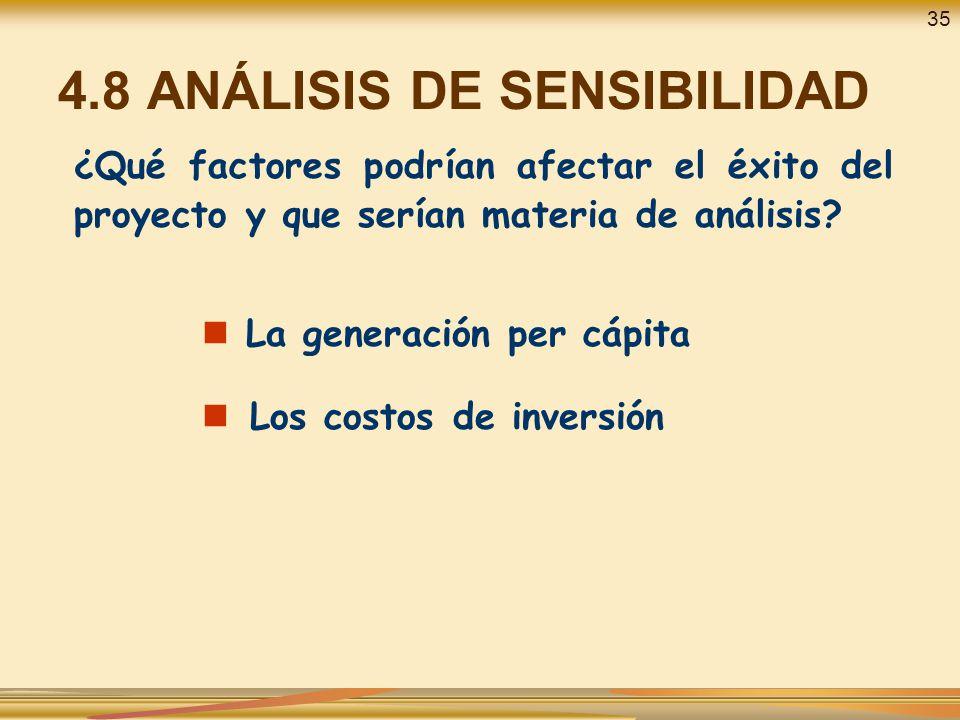 4.8 ANÁLISIS DE SENSIBILIDAD ¿Qué factores podrían afectar el éxito del proyecto y que serían materia de análisis? La generación per cápita Los costos