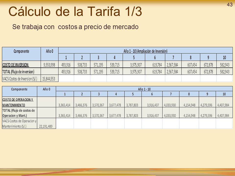 Cálculo de la Tarifa 1/3 Se trabaja con costos a precio de mercado 43