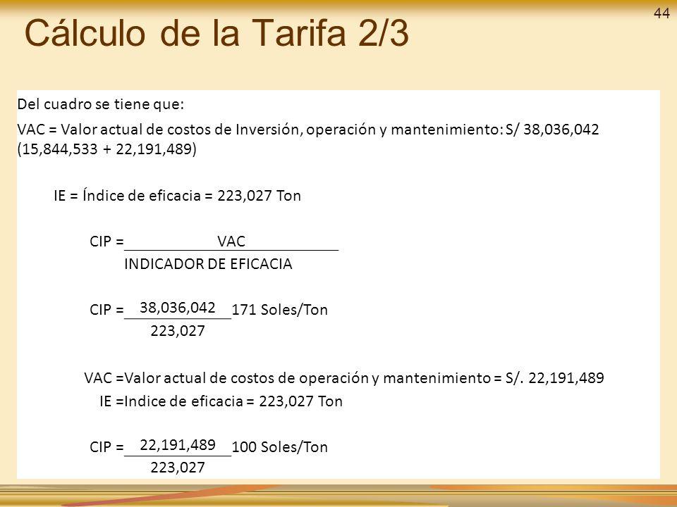 Cálculo de la Tarifa 2/3 Del cuadro se tiene que: VAC = Valor actual de costos de Inversión, operación y mantenimiento: S/ 38,036,042 (15,844,533 + 22,191,489) IE = Índice de eficacia = 223,027 Ton CIP =VAC INDICADOR DE EFICACIA CIP = 38,036,042 171 Soles/Ton 223,027 VAC =Valor actual de costos de operación y mantenimiento = S/.