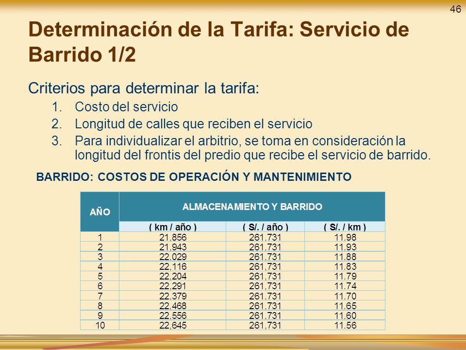 Determinación de la Tarifa: Servicio de Barrido 1/2 Criterios para determinar la tarifa: 1.Costo del servicio 2.Longitud de calles que reciben el servicio 3.Para individualizar el arbitrio, se toma en consideración la longitud del frontis del predio que recibe el servicio de barrido.