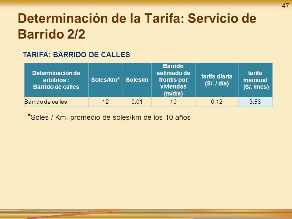 Determinación de la Tarifa: Servicio de Barrido 2/2 TARIFA: BARRIDO DE CALLES * Soles / Km: promedio de soles/km de los 10 años Determinación de arbit