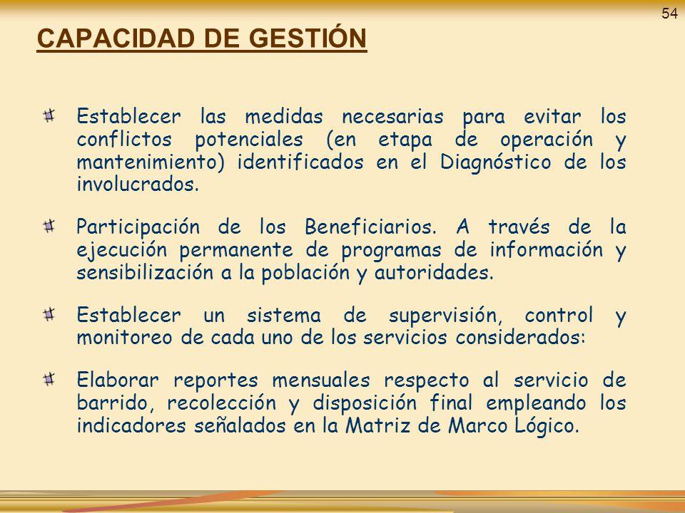 CAPACIDAD DE GESTIÓN Establecer las medidas necesarias para evitar los conflictos potenciales (en etapa de operación y mantenimiento) identificados en