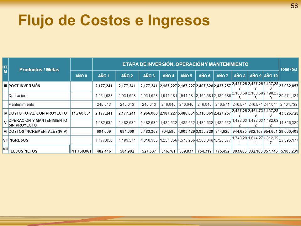 Flujo de Costos e Ingresos ITE M Productos / Metas ETAPA DE INVERSIÓN, OPERACIÓN Y MANTENIMIENTO Total (S/.) AÑO 0AÑO 1AÑO 2AÑO 3AÑO 4AÑO 5AÑO 6AÑO 7A
