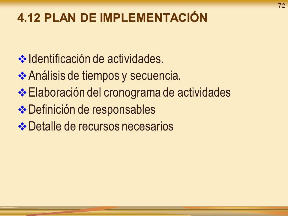 4.12 PLAN DE IMPLEMENTACIÓN Identificación de actividades. Análisis de tiempos y secuencia. Elaboración del cronograma de actividades Definición de re