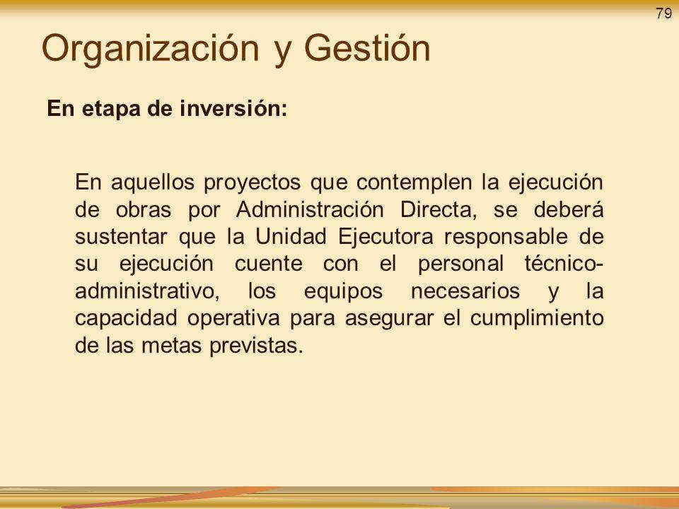Organización y Gestión En etapa de inversión: En aquellos proyectos que contemplen la ejecución de obras por Administración Directa, se deberá sustent
