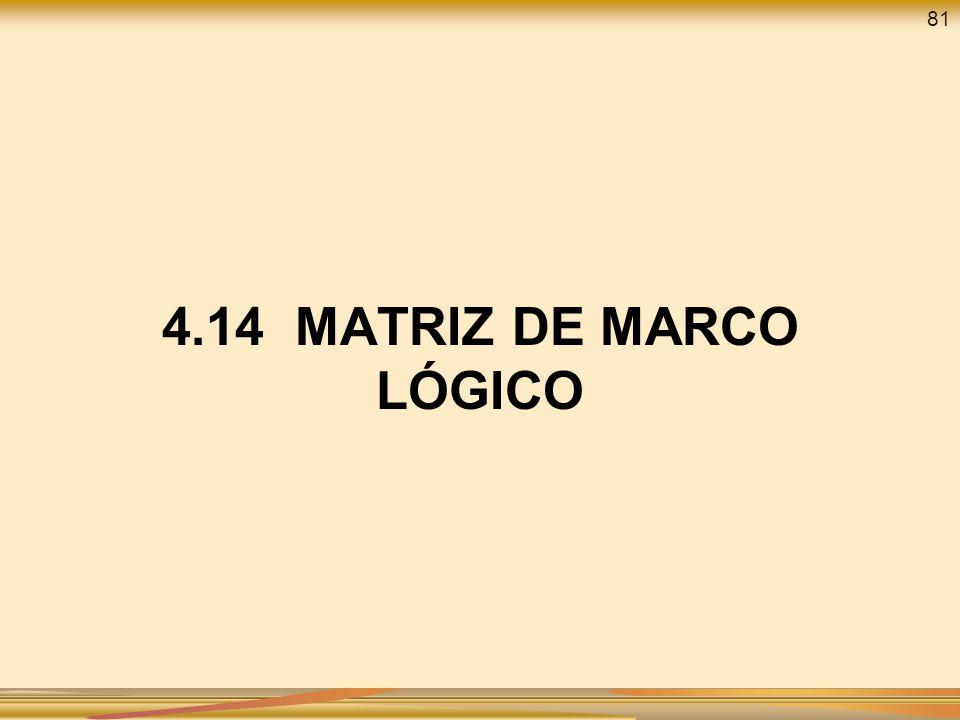 4.14 MATRIZ DE MARCO LÓGICO 81
