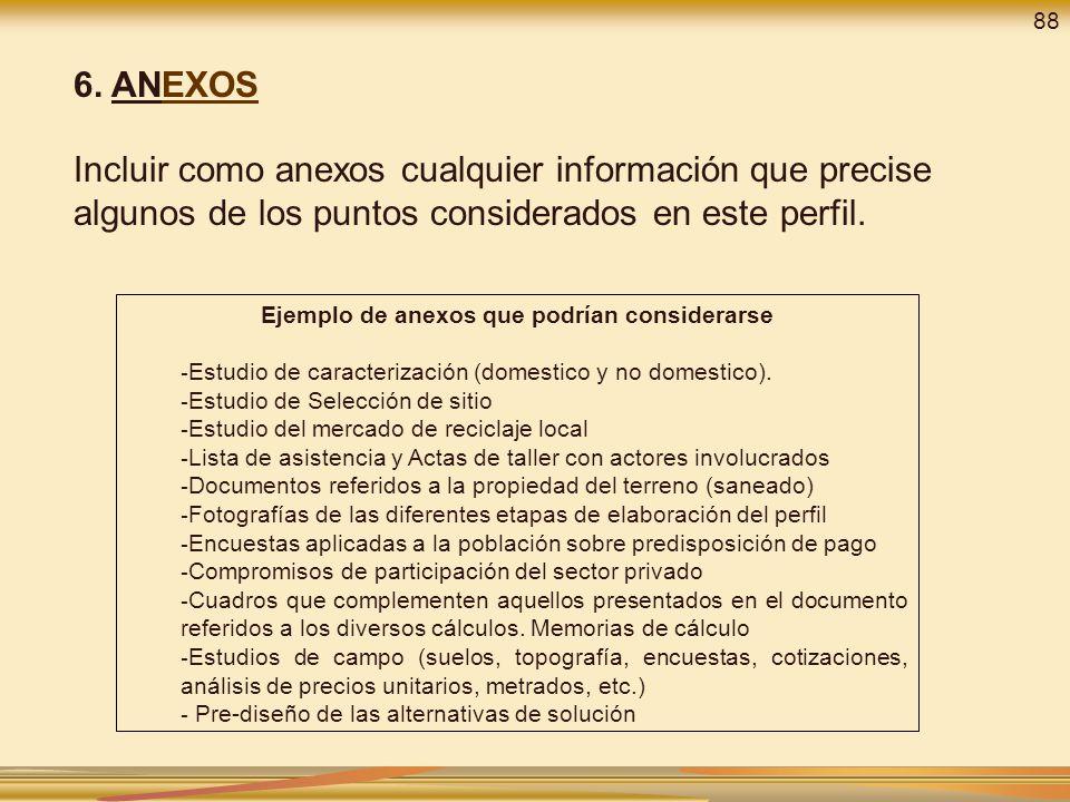 6. ANEXOS Incluir como anexos cualquier información que precise algunos de los puntos considerados en este perfil. Ejemplo de anexos que podrían consi