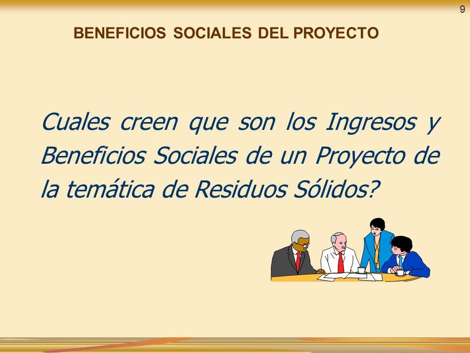 Cuales creen que son los Ingresos y Beneficios Sociales de un Proyecto de la temática de Residuos Sólidos? BENEFICIOS SOCIALES DEL PROYECTO 9