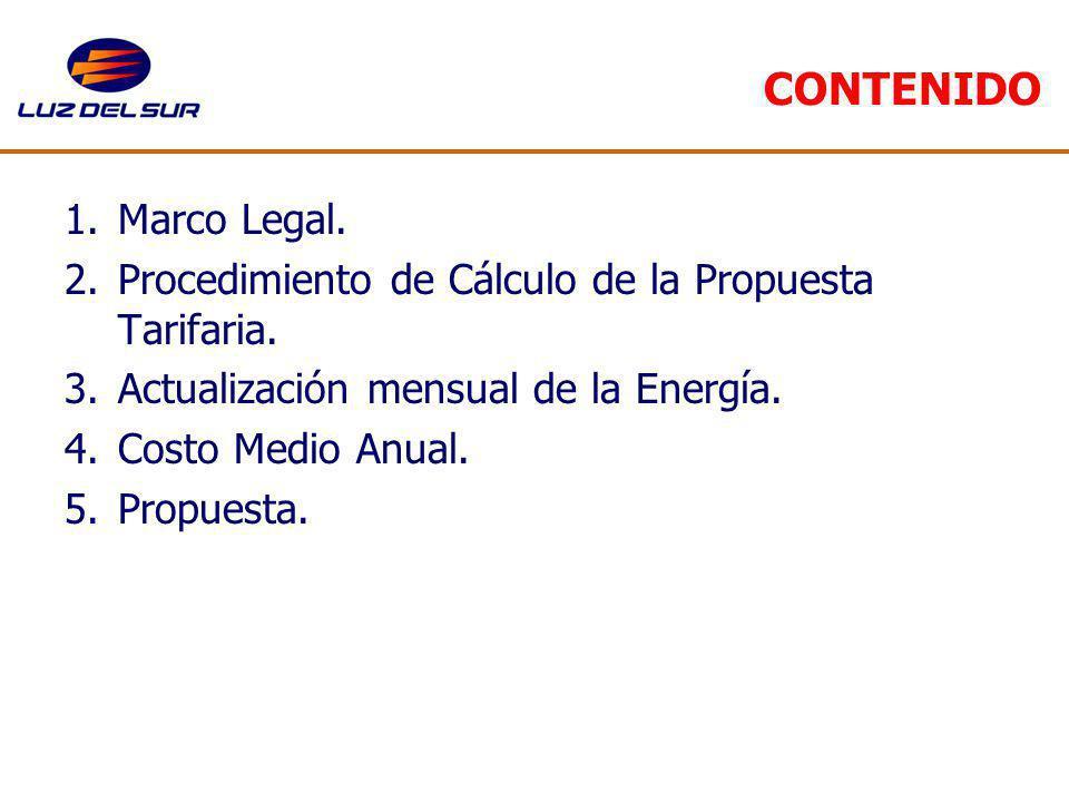 CONTENIDO 1.Marco Legal. 2.Procedimiento de Cálculo de la Propuesta Tarifaria. 3.Actualización mensual de la Energía. 4.Costo Medio Anual. 5.Propuesta