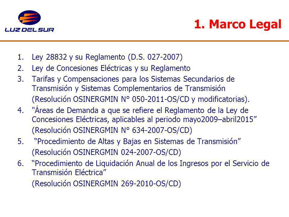 1. Marco Legal 1.Ley 28832 y su Reglamento (D.S. 027-2007) 2.Ley de Concesiones Eléctricas y su Reglamento 3.Tarifas y Compensaciones para los Sistema