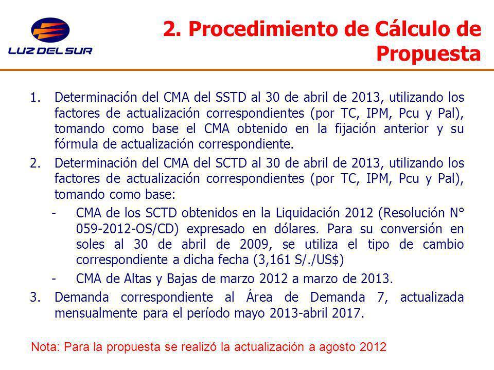2. Procedimiento de Cálculo de Propuesta 1.Determinación del CMA del SSTD al 30 de abril de 2013, utilizando los factores de actualización correspondi