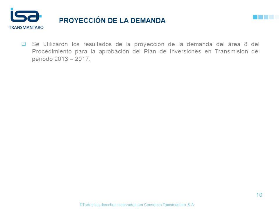 ©Todos los derechos reservados por Consorcio Transmantaro S.A. 10 PROYECCIÓN DE LA DEMANDA Se utilizaron los resultados de la proyección de la demanda