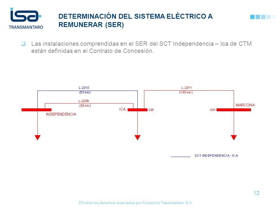©Todos los derechos reservados por Consorcio Transmantaro S.A. 12 DETERMINACIÓN DEL SISTEMA ELÉCTRICO A REMUNERAR (SER) Las instalaciones comprendidas
