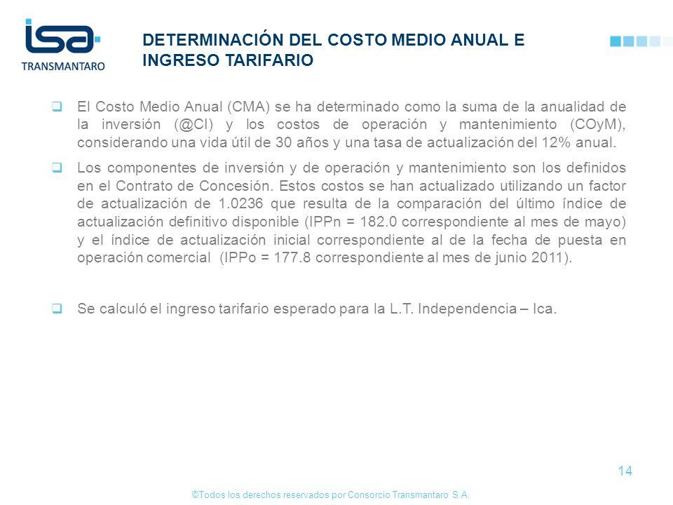 ©Todos los derechos reservados por Consorcio Transmantaro S.A. 14 DETERMINACIÓN DEL COSTO MEDIO ANUAL E INGRESO TARIFARIO El Costo Medio Anual (CMA) s