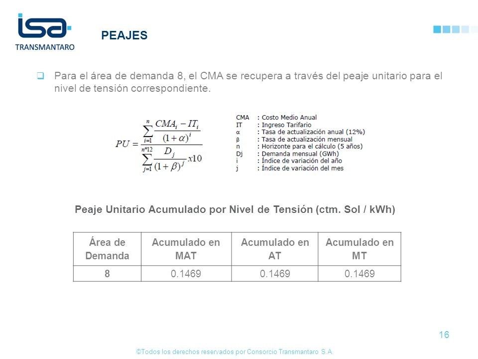 ©Todos los derechos reservados por Consorcio Transmantaro S.A. 16 PEAJES Para el área de demanda 8, el CMA se recupera a través del peaje unitario par