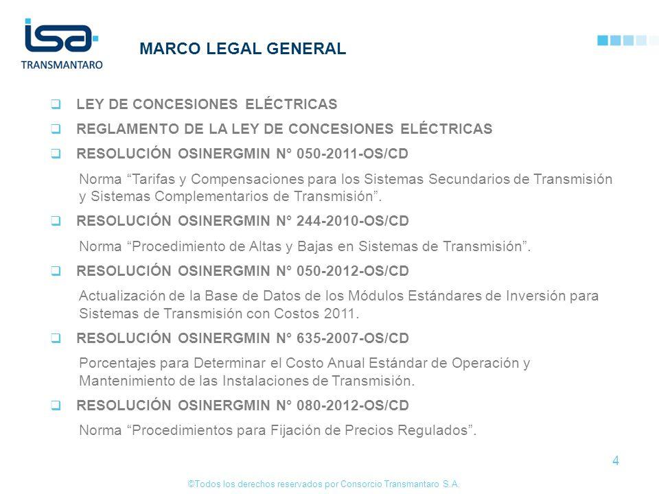 ©Todos los derechos reservados por Consorcio Transmantaro S.A. 4 LEY DE CONCESIONES ELÉCTRICAS REGLAMENTO DE LA LEY DE CONCESIONES ELÉCTRICAS RESOLUCI