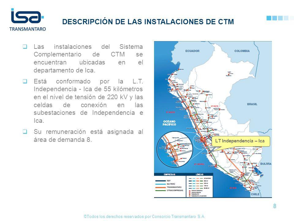©Todos los derechos reservados por Consorcio Transmantaro S.A. 8 DESCRIPCIÓN DE LAS INSTALACIONES DE CTM Las instalaciones del Sistema Complementario