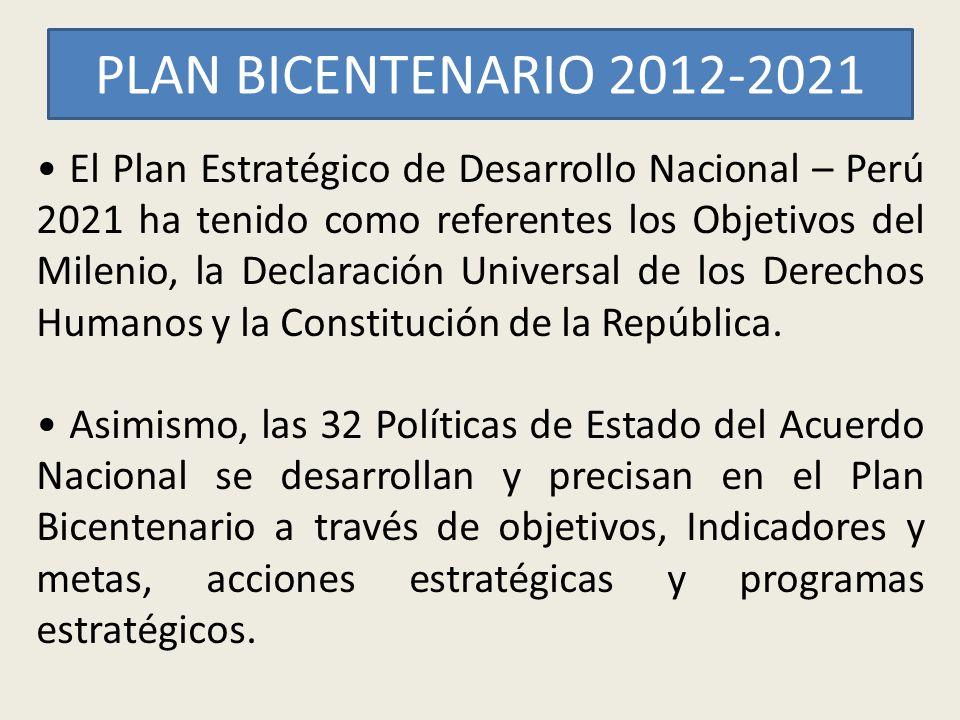 PLAN BICENTENARIO 2012-2021 El Plan Estratégico de Desarrollo Nacional – Perú 2021 ha tenido como referentes los Objetivos del Milenio, la Declaración