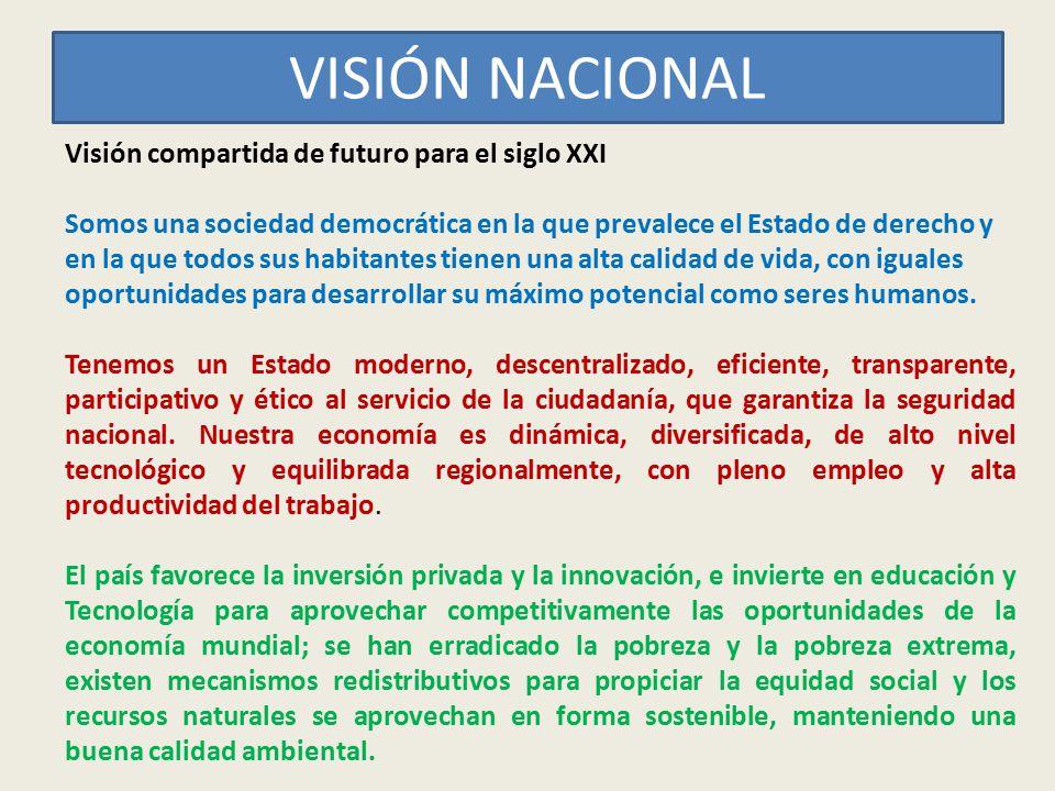 VISIÓN NACIONAL Visión compartida de futuro para el siglo XXI Somos una sociedad democrática en la que prevalece el Estado de derecho y en la que todo