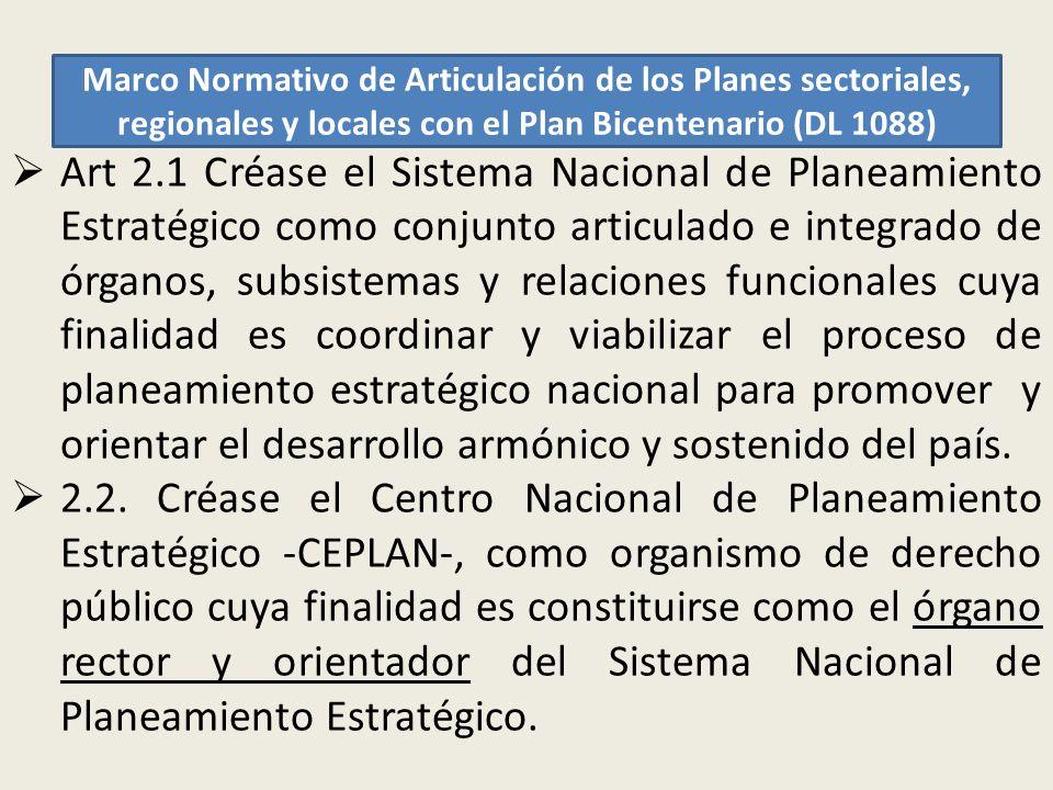 Marco Normativo de Articulación de los Planes sectoriales, regionales y locales con el Plan Bicentenario (DL 1088) Art 2.1 Créase el Sistema Nacional
