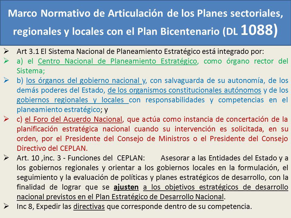 Marco Normativo de Articulación de los Planes sectoriales, regionales y locales con el Plan Bicentenario (DL 1088) Art 3.1 El Sistema Nacional de Plan