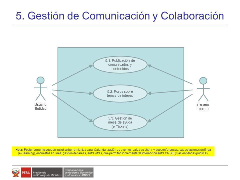 Modelo de Gestión de Políticas, Planes y Proyectos de Gobierno Electrónico 5. Gestión de Comunicación y Colaboración 27 5.1. Publicación de comunicado