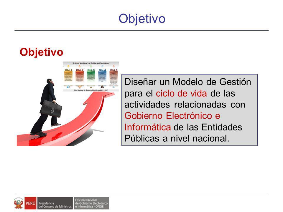 Objetivo Diseñar un Modelo de Gestión para el ciclo de vida de las actividades relacionadas con Gobierno Electrónico e Informática de las Entidades Pú