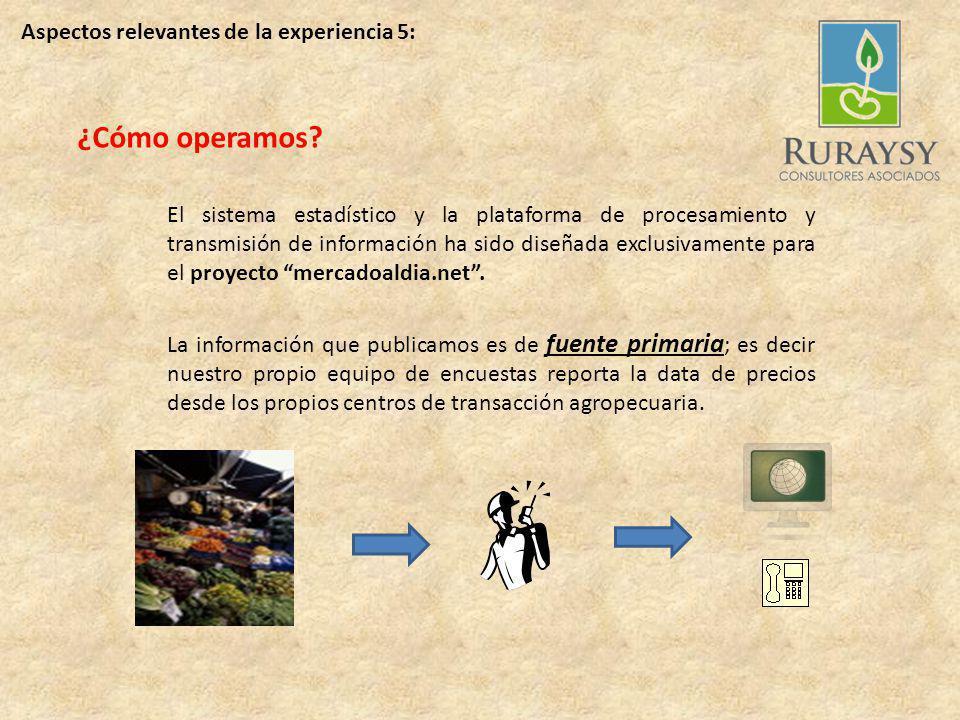 Aspectos relevantes de la experiencia 4: Consultas en QUECHUA y en CASTELLANO Consultas DIARIAS sobre precios de productos, con información real desde los mercados más importantes.