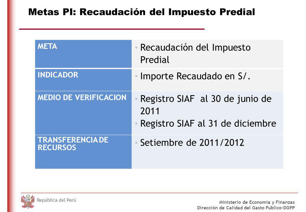 DO NOT REFRESH Ministerio de Economía y Finanzas Dirección de Calidad del Gasto Público-DGPP República del Perú Metas PI: Recaudación del Impuesto Predial META Recaudación del Impuesto Predial INDICADOR Importe Recaudado en S/.