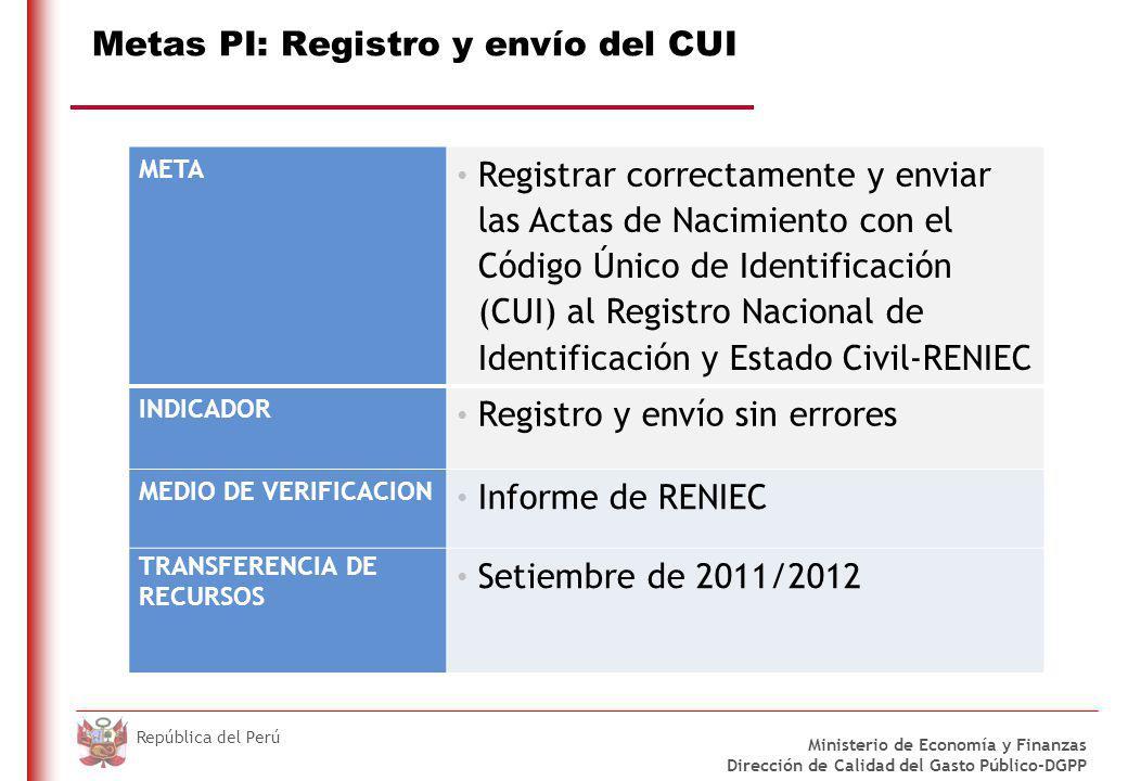 DO NOT REFRESH Ministerio de Economía y Finanzas Dirección de Calidad del Gasto Público-DGPP República del Perú Metas PI: Registro y envío del CUI META Registrar correctamente y enviar las Actas de Nacimiento con el Código Único de Identificación (CUI) al Registro Nacional de Identificación y Estado Civil-RENIEC INDICADOR Registro y envío sin errores MEDIO DE VERIFICACION Informe de RENIEC TRANSFERENCIA DE RECURSOS Setiembre de 2011/2012