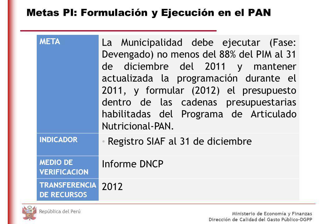 DO NOT REFRESH Ministerio de Economía y Finanzas Dirección de Calidad del Gasto Público-DGPP República del Perú Metas PI: Formulación y Ejecución en el PAN META La Municipalidad debe ejecutar (Fase: Devengado) no menos del 88% del PIM al 31 de diciembre del 2011 y mantener actualizada la programación durante el 2011, y formular (2012) el presupuesto dentro de las cadenas presupuestarias habilitadas del Programa de Articulado Nutricional-PAN.