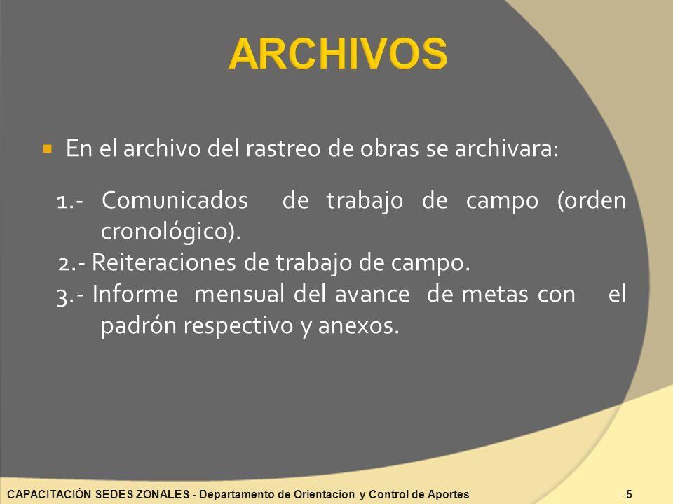 En el archivo del rastreo de obras se archivara: 1.- Comunicados de trabajo de campo (orden cronológico).