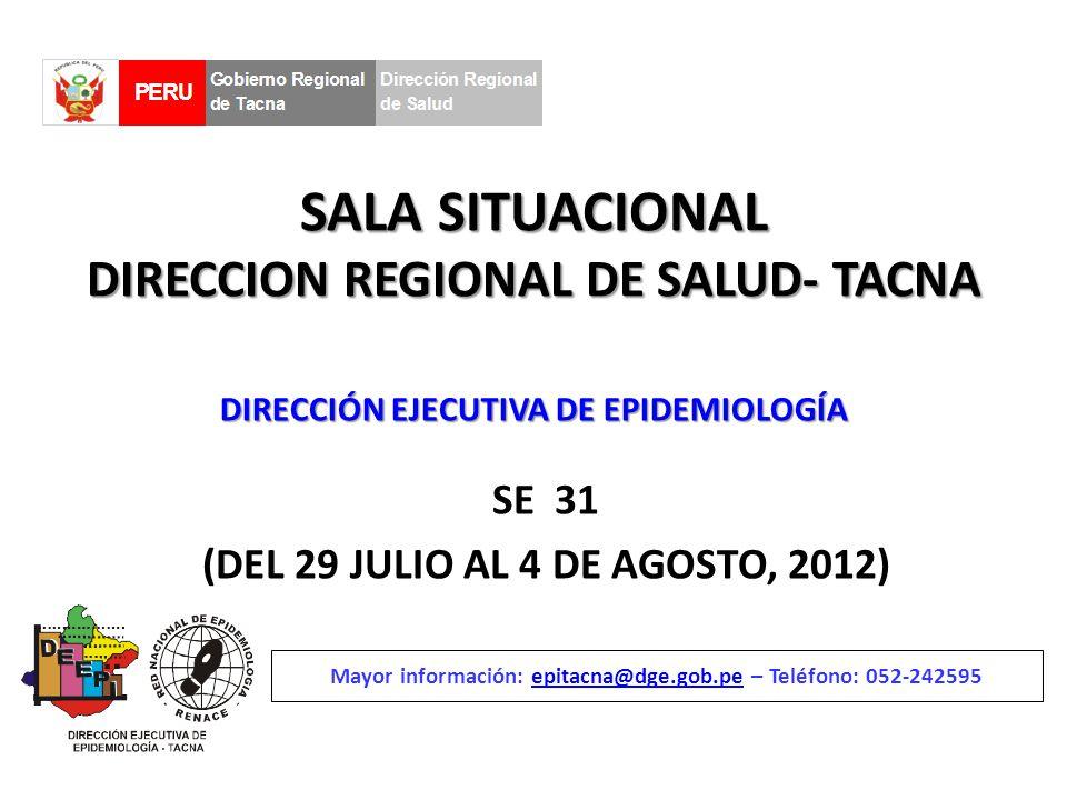 SALA SITUACIONAL DIRECCION REGIONAL DE SALUD- TACNA SE 31 (DEL 29 JULIO AL 4 DE AGOSTO, 2012) Mayor información: epitacna@dge.gob.pe – Teléfono: 052-242595epitacna@dge.gob.pe DIRECCIÓN EJECUTIVA DE EPIDEMIOLOGÍA