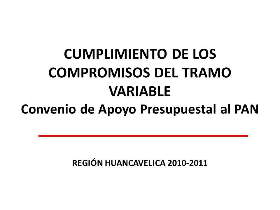 CUMPLIMIENTO DE LOS COMPROMISOS DEL TRAMO VARIABLE Convenio de Apoyo Presupuestal al PAN REGIÓN HUANCAVELICA 2010-2011