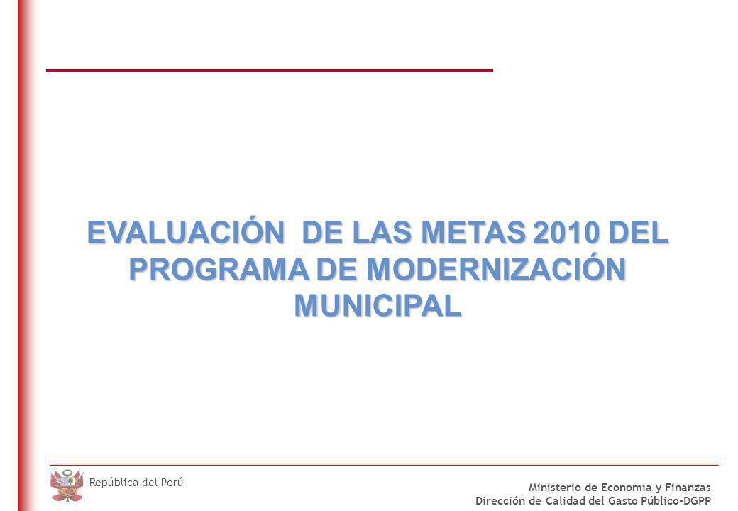 DO NOT REFRESH Ministerio de Economía y Finanzas Dirección de Calidad del Gasto Público-DGPP República del Perú EVALUACIÓN DE LAS METAS 2010 DEL PROGR