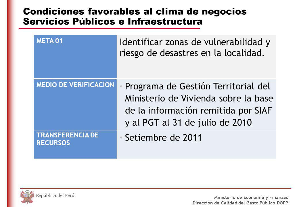DO NOT REFRESH Ministerio de Economía y Finanzas Dirección de Calidad del Gasto Público-DGPP República del Perú Condiciones favorables al clima de neg
