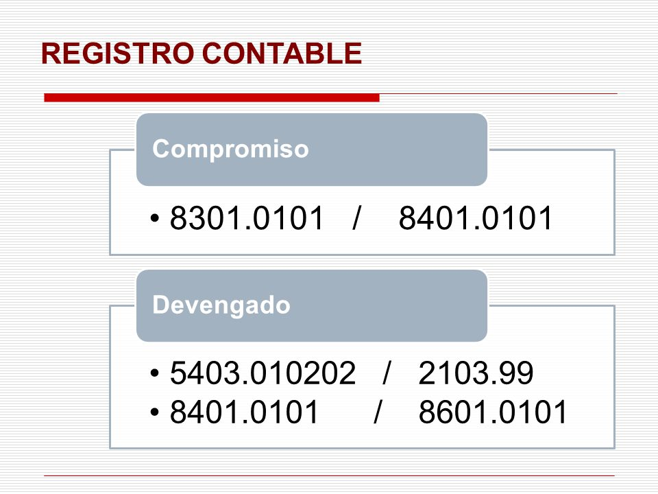 REGISTRO CONTABLE 8301.0101 / 8401.0101 Compromiso 5403.010202 / 2103.99 8401.0101 / 8601.0101 Devengado