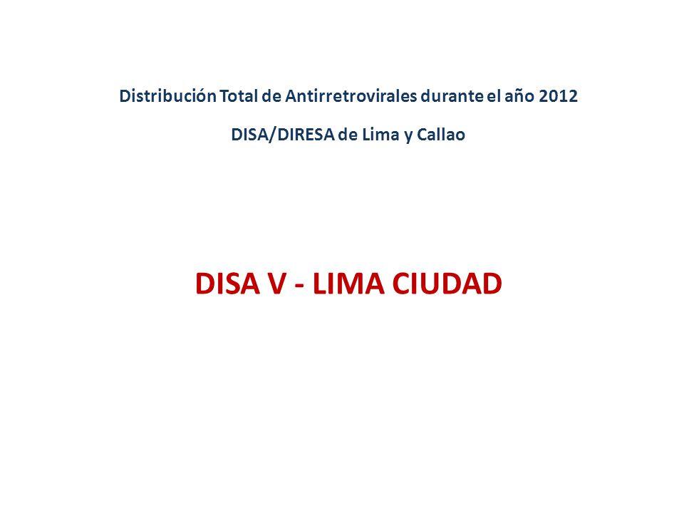 DISA V - LIMA CIUDAD Distribución Total de Antirretrovirales durante el año 2012 DISA/DIRESA de Lima y Callao