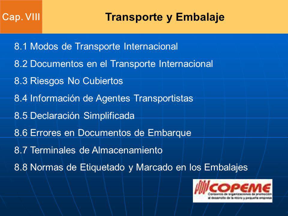 8.1 Modos de Transporte Internacional 8.2 Documentos en el Transporte Internacional 8.3 Riesgos No Cubiertos 8.4 Información de Agentes Transportistas