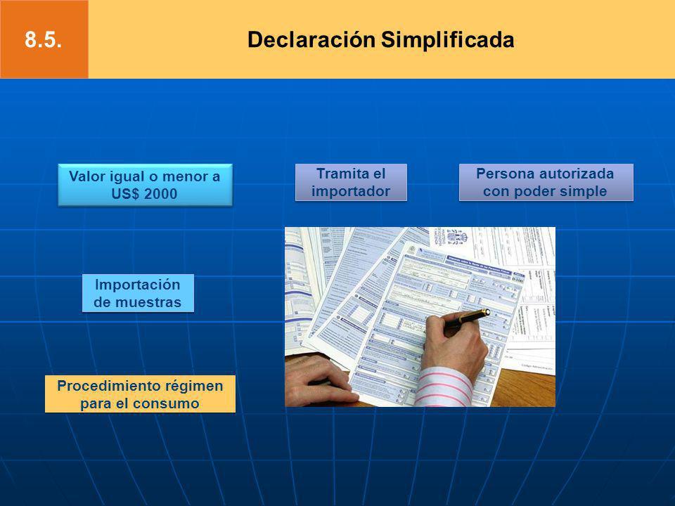 Valor igual o menor a US$ 2000 Importación de muestras Tramita el importador Persona autorizada con poder simple Procedimiento régimen para el consumo