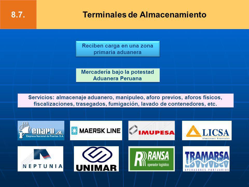 Reciben carga en una zona primaria aduanera Mercadería bajo la potestad Aduanera Peruana Servicios: almacenaje aduanero, manipuleo, aforo previos, afo