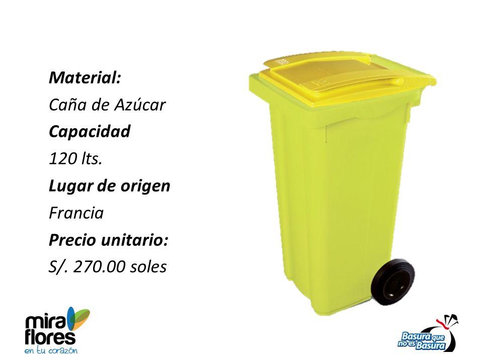 Material: Caña de Azúcar Capacidad 120 lts. Lugar de origen Francia Precio unitario: S/. 270.00 soles