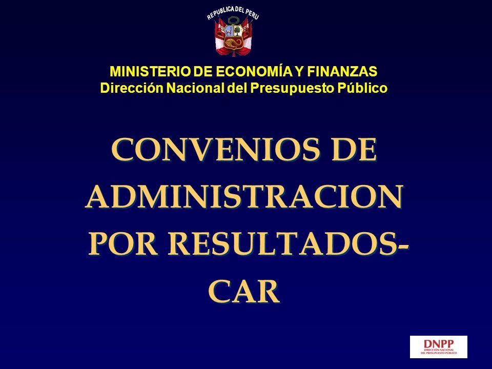 CONVENIOS DE ADMINISTRACION POR RESULTADOS- CAR MINISTERIO DE ECONOMÍA Y FINANZAS Dirección Nacional del Presupuesto Público