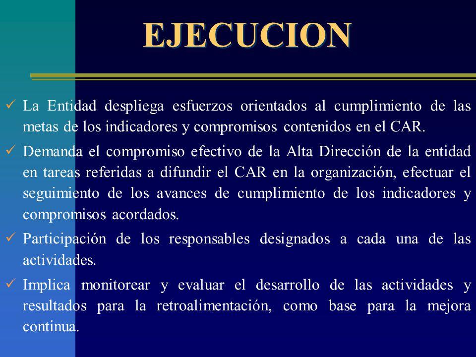 EJECUCION La Entidad despliega esfuerzos orientados al cumplimiento de las metas de los indicadores y compromisos contenidos en el CAR.