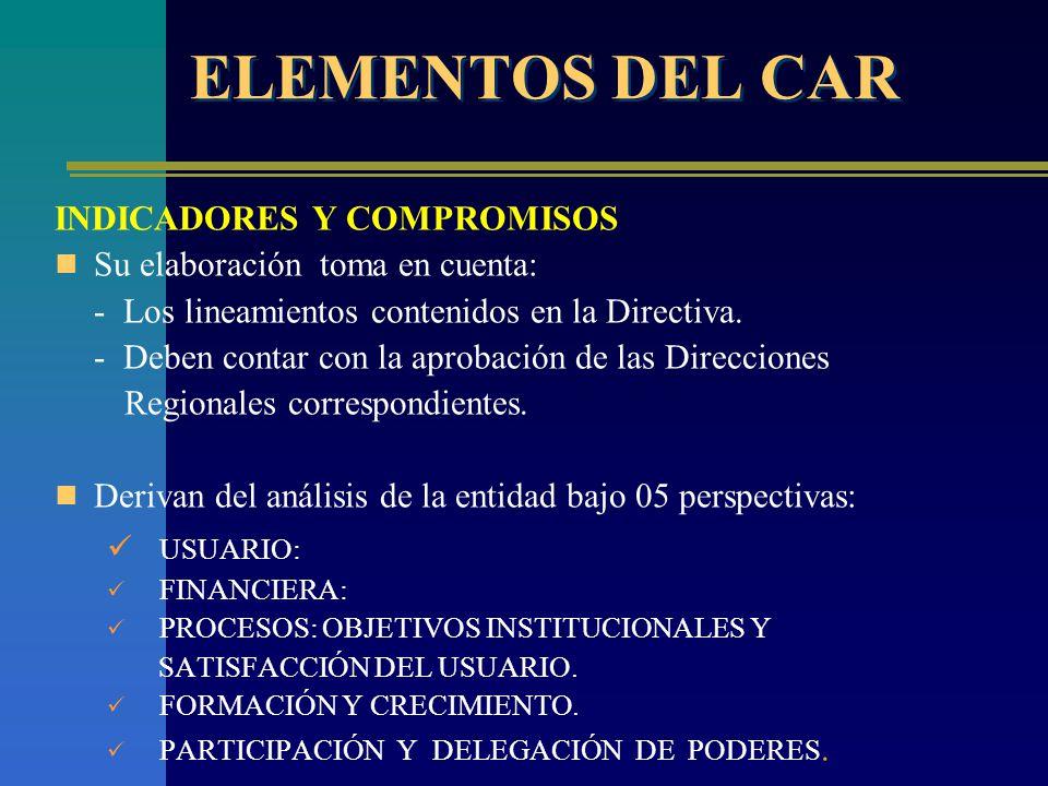 ELEMENTOS DEL CAR INDICADORES Y COMPROMISOS Su elaboración toma en cuenta: - Los lineamientos contenidos en la Directiva.