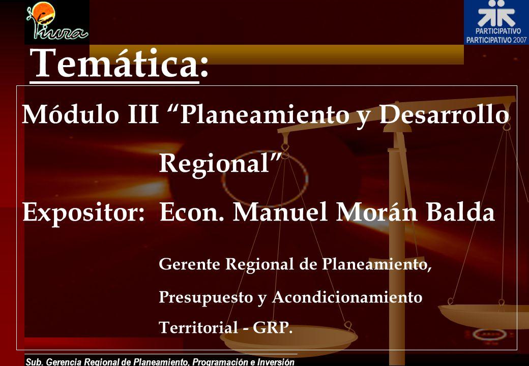 Sub. Gerencia Regional de Planeamiento, Programación e Inversión Temática: Módulo III Planeamiento y Desarrollo Regional Expositor:Econ. Manuel Morán
