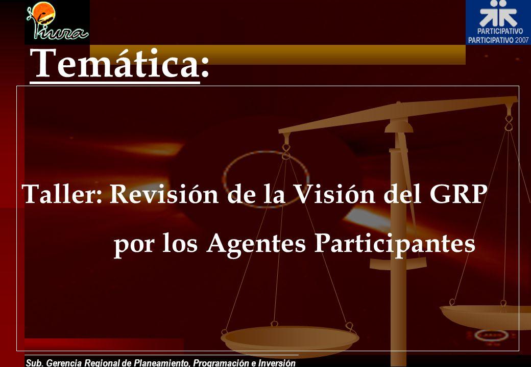 Sub. Gerencia Regional de Planeamiento, Programación e Inversión Temática: Taller: Revisión de la Visión del GRP por los Agentes Participantes